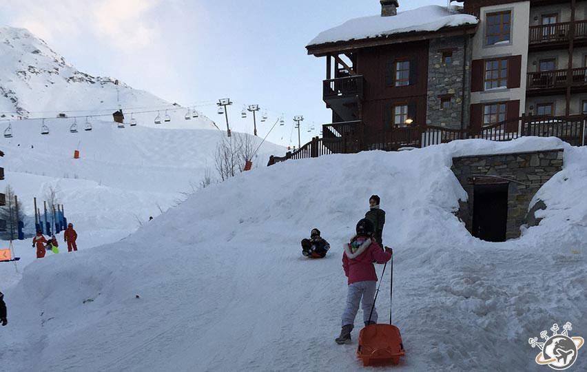 Luge après le ski à Arc 1950 pendant nos vacances de 2015