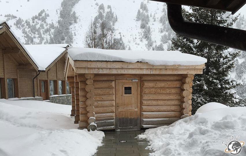 Le sauna du Spa Cinq Mondes à Arc 1950 pendant nos vacances de 2015