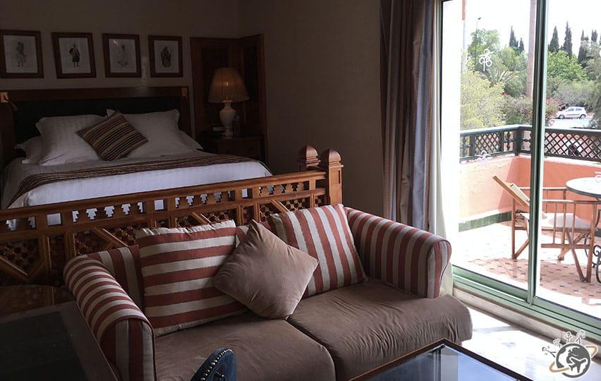 La chambre de l'hôtel La Palmeraie