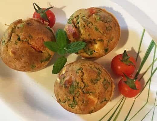 Muffins épinard, feta, tomates, menthe
