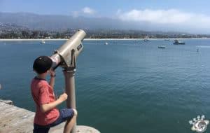 La baie vue du stearns wharf de Santa Barbara en Californie